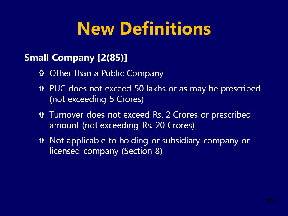 New Definitions Small Company [2(85)] Other than a Public Company
